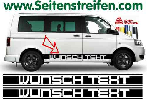 VW T4 T5 T6 Désirent Texte - Sticker bande latérale autocollant ensemble complet N° 5128