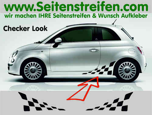 Fiat 500 Checker Seitenstreifen Aufkleber Dekor Set Version N°1 - Art.Nr.: 9654