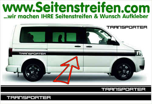 VW Bus T4 T5 TRANSPORTER Custom Sticker bande latérale autocollant ensemble complet  N° 5157