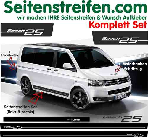 VW Bus T4 T5 Transporter  Beach edition 25 Sticker  Autocollant - Trousse complète N° 5110