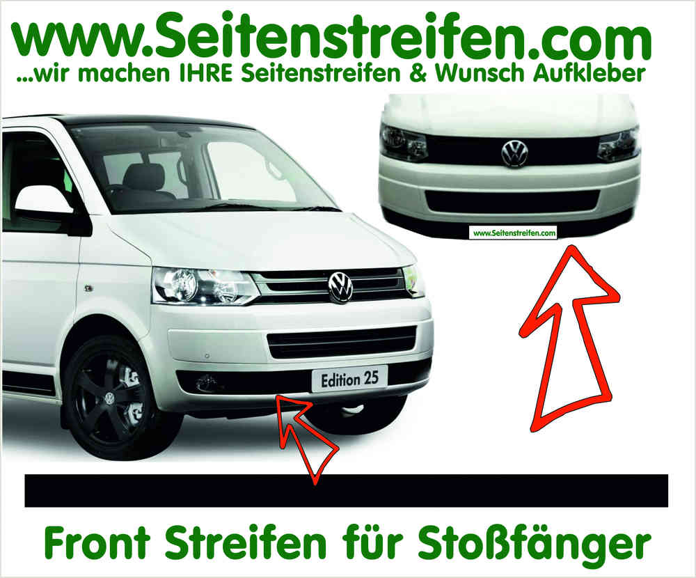 Vw Bus T5 Front Streifen Aufkleber Für Stoßfänger In Edition Look Artnr 5040