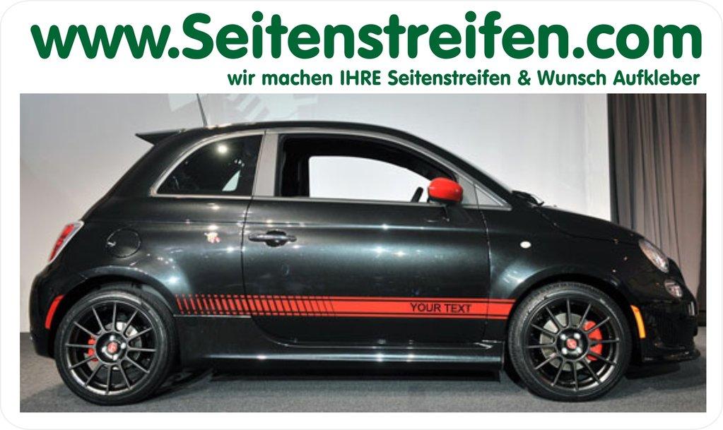 Fiat 500 Evo Seitenstreifen Aufkleber Mit Wunschtext Abarth Look
