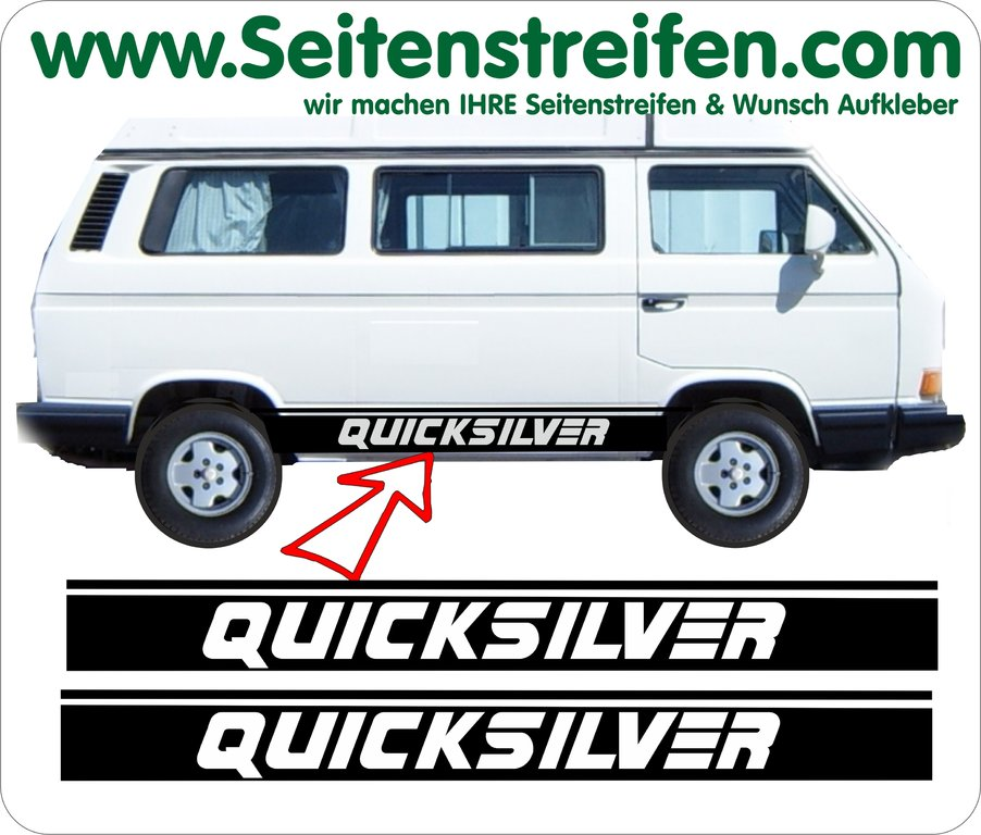 VW Bus T3 QUICKSILVER Aufkleber Sticker Seitenstreifen Set Version N°1 Art.Nr.: 5223