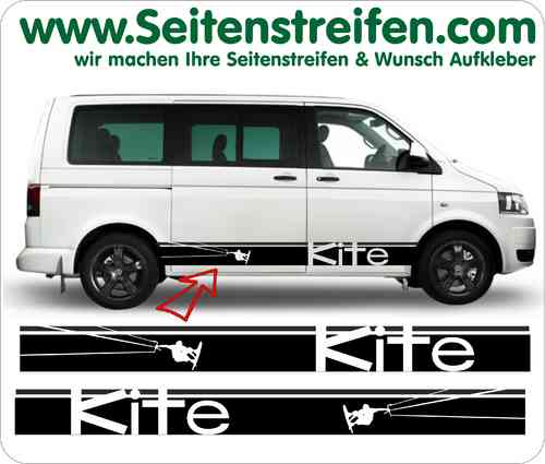 VW BUS T4 T5 T6 Kite Look Seitenstreifen Aufkleber Sticker Set - Version N 2  - Art.Nr.: 5215