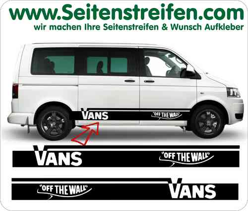 VW Bus T4 & T5 Vans off the Wall Seitenstreifen Aufkleber Sticker Set Art.Nr.: 5216