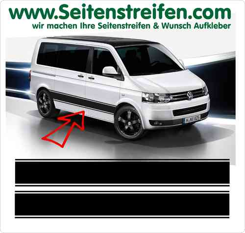 VW Bus T4 T5 T6 Seitenstreifen Aufkleber Sticker Set Version N°1  Art.Nr.: 5209