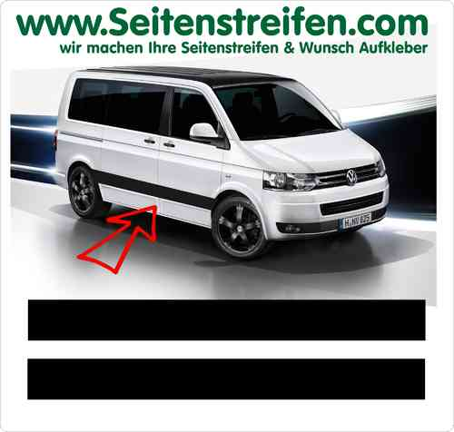 VW Bus T4  T5 Seitenstreifen Aufkleber Sticker Set Version N°2  Art.Nr.: 5210