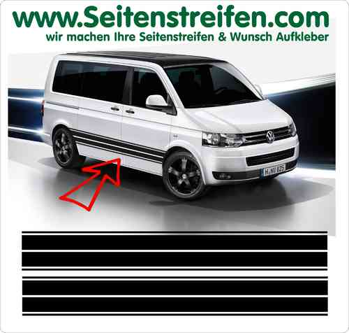 VW Bus T4 T5 T6 Seitenstreifen Aufkleber Sticker Set Version N°3  Art.Nr.: 5211