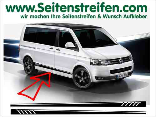 VW Bus T4 T5 T6 Seitenstreifen Aufkleber Sticker Set -Version N°5 - Art.Nr.: 5213