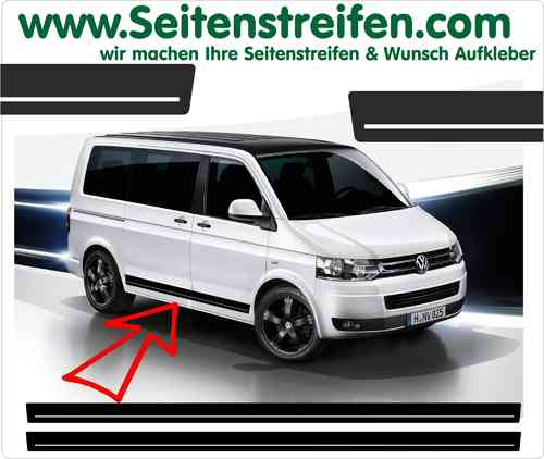 VW Bus T4 T5 Seitenstreifen Aufkleber Sticker Set  - Version 6 - Art. Nr.: 6623