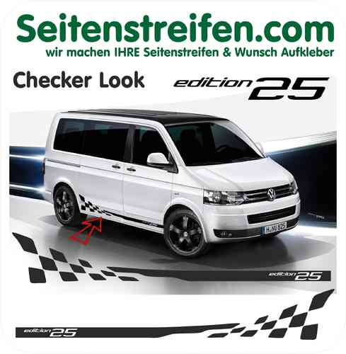 Checker Edition 25 VW Bus - bande latérale autocollant ensemble complet  - N° 5222