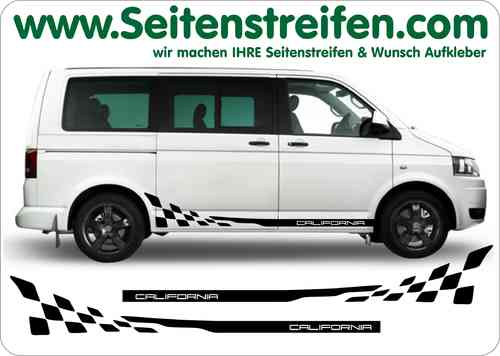 VW Bus T4 T5 CALIFORNIA Checker Sticker bande latérale autocollant ensemble complet - N° 5202