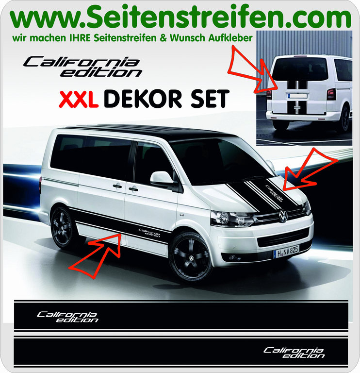 VW Bus T4 T5 T6 California Edition - XXL Aufkleber Dekor Sticker Komplett Set Art.Nr.: 5094