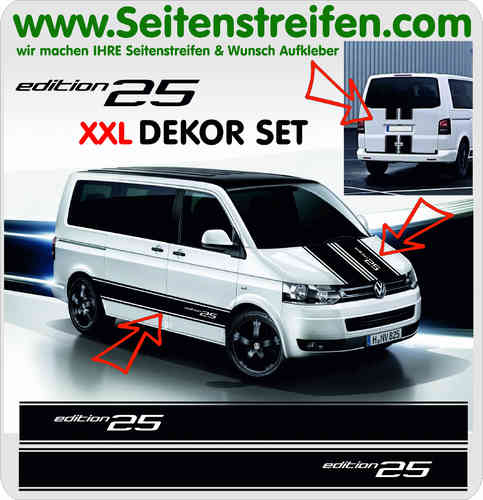 VW BUS T4 T5 T6 Edition 25  XXL Set - Aufkleber Dekor Sticker Komplett Set - Art.Nr.: 5095