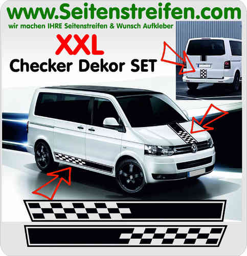 VW Bus T4 T5 T6 Checker Look - XXL Aufkleber Dekor Sticker Komplett Set Art.Nr.: 5097