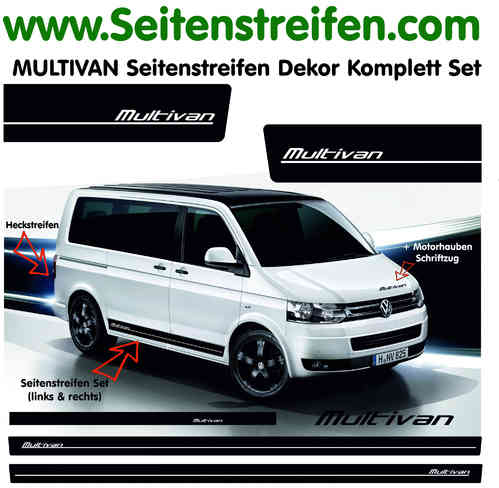 VW Bus T4 T5 Multivan Seitenstreifen Aufkleber Komplett Set in Edition Look Art.Nr. 9044