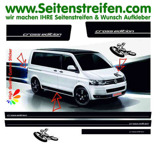 VW Bus T4 T5 T6 Cross Edition Motocross Seitenstreifen Aufkleber Set VW BUS T4 T5  - Art.Nr: 8952