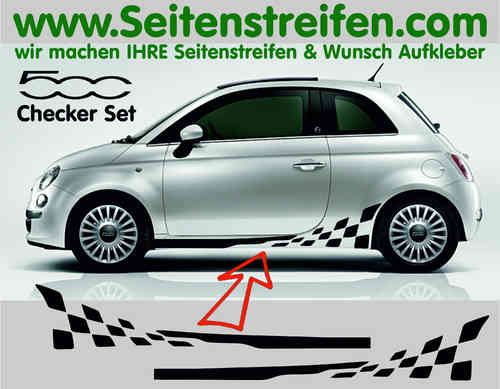 Fiat 500 Checker Seitenstreifen Aufkleber Dekor Set Version N°2 - Art.Nr 7862