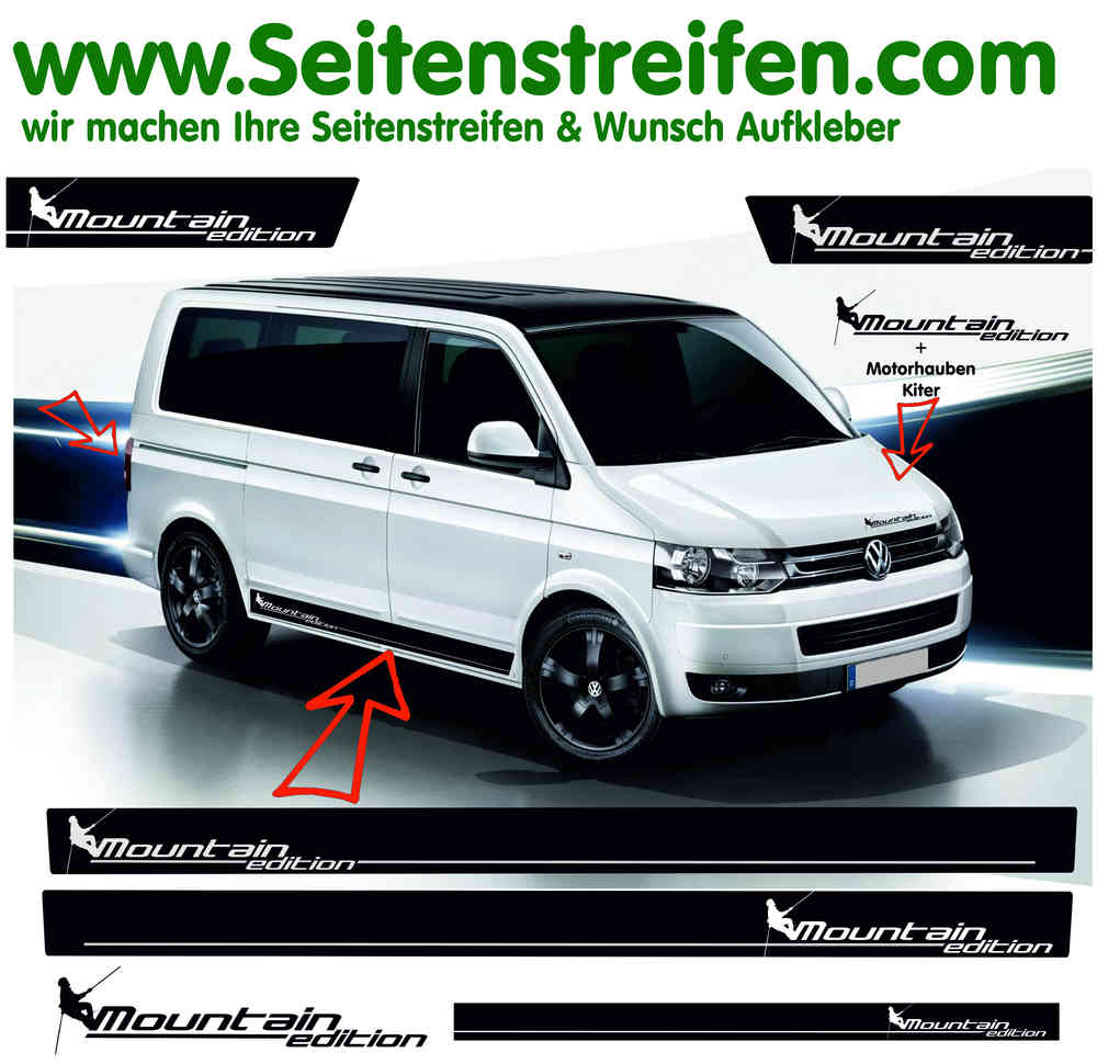 Vw Bus T4 T5 Mountain Edition Side Stripes Sticker Decal Graphic Decor Set N 2021