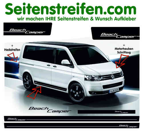VW Bus T4  T5 Transporter Beach Camper Pegatinas Laterales Adhesivo - set completo - N°  2003