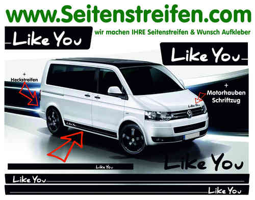 VW Bus T4 T5 Like You - Seitenstreifen Aufkleber Komplett Set Art.Nr. 9718