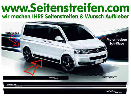VW Bus T4  T5 White Star Pegatinas Laterales Adhesivo - set completo - Art.Nr.: 9245