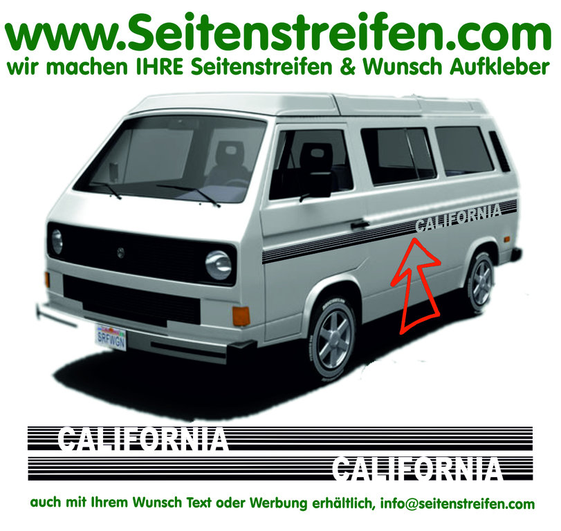 VW Bus T3 - CALIFORNIA Stripes Custom Seitenstreifen Aufkleber Dekor Komplett Set  - Art.Nr.: 17014