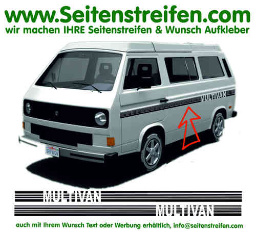 VW Bus T3 MULTIVAN Stripes Custom - Seitenstreifen Aufkleber Dekor Komplett Set  - Art.Nr.: 17022