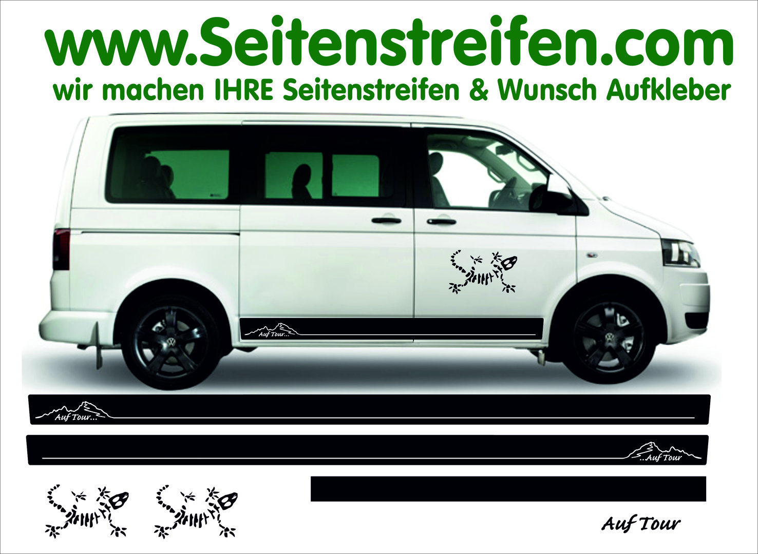 Vw bus t4 t5 on tour gekko side stripe sticker decal complete set edition look