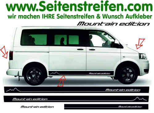 VW BUS T4 T5 T6 Mountain edition Version N°2 Seitenstreifen Aufkleber Dekor Set Art.Nr.: 6866