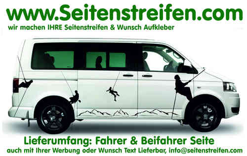 VW Bus T4 T5 Mountain Bergsteiger Freeclimber Aufkleber Dekor Komplett Set Art.Nr.: 6814
