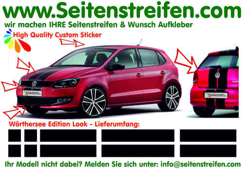 VW POLO Wörthersee Edition Look Dach Haube Heck Aufkleber Dekor Sticker Komplett Set Art.Nr.: 4574