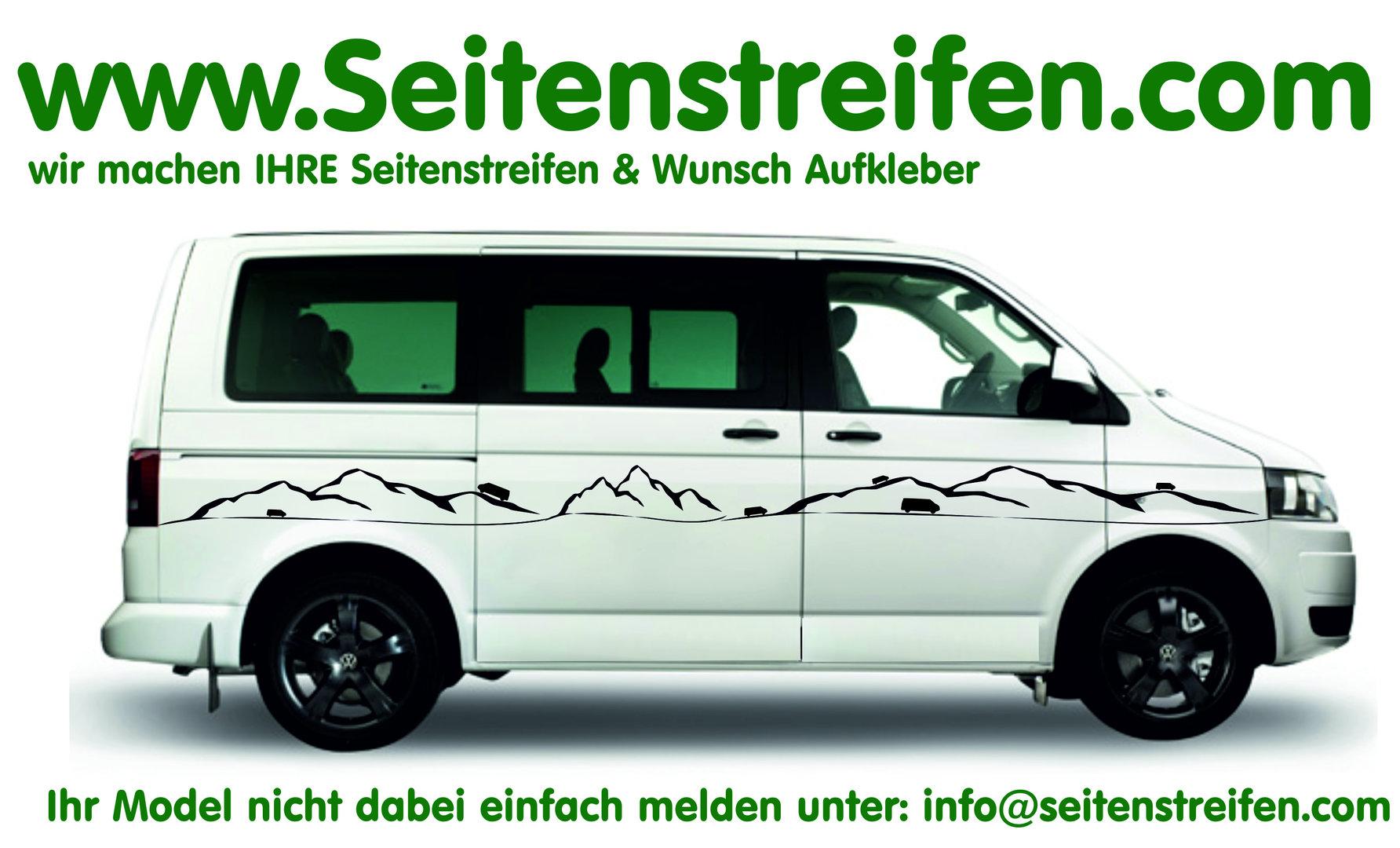 Vw Bus T4 T5 T6 Motiv Berge Und Bus Seitenstreifen Aufkleber Dekor