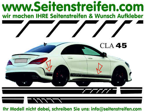 Mercedes Benz CLA / CLA shooting brake AMG - Replika Seitenstreifen Dekor Aufkleber Set Art:Nr: 7096