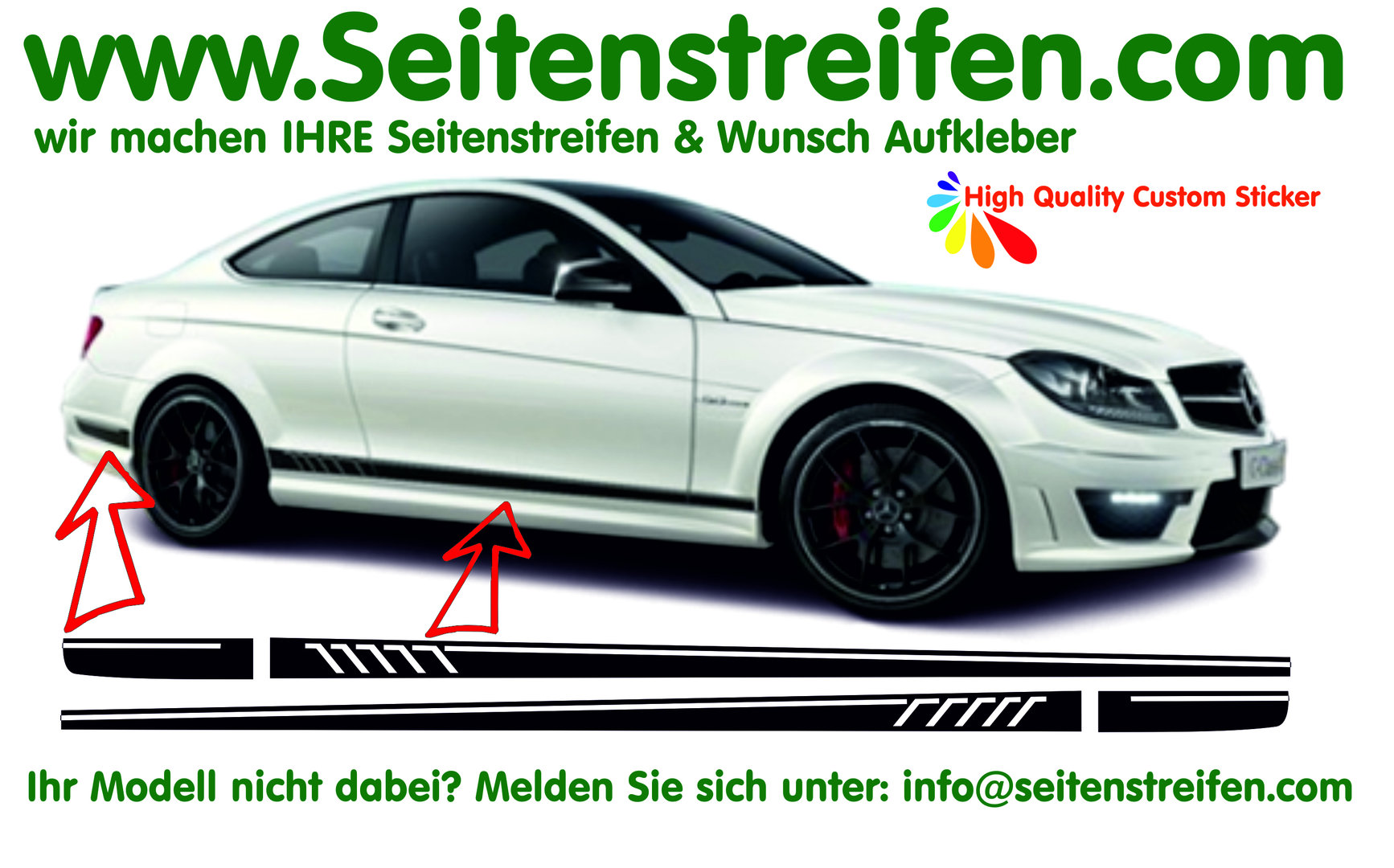 Mercedes Benz Amg C63 Coupe 507 Replica Side Stripes Decal