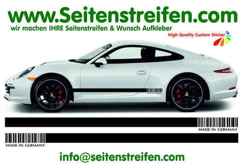 PORSCHE 911 (991)  MADE IN GERMANY  Seitenstreifen Aufkleber Dekor Set - Art. Nr.: 7793