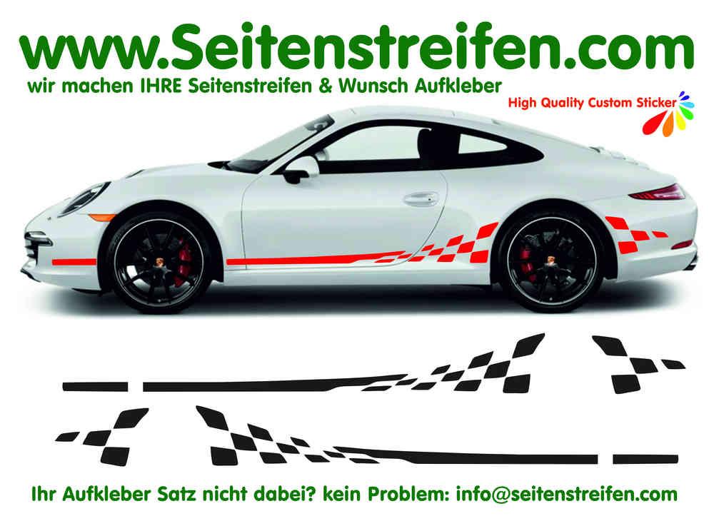 GT3 Checker Complete Set - Porsche 911 Decal Side Stripes Sticker Decor Set