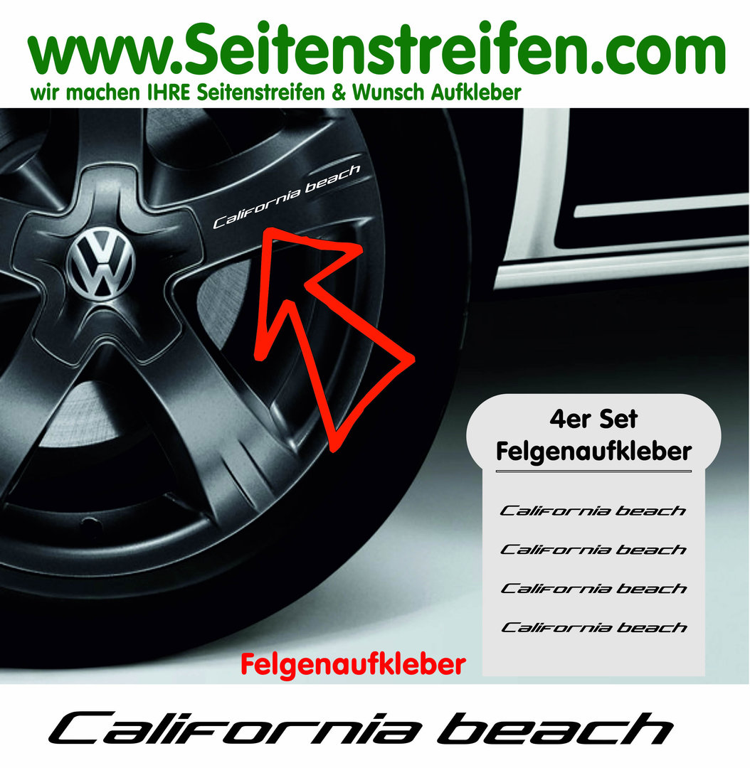 VW Bus California beach Felgen Aufkleber 4er Set - Art. Nr.: 8900