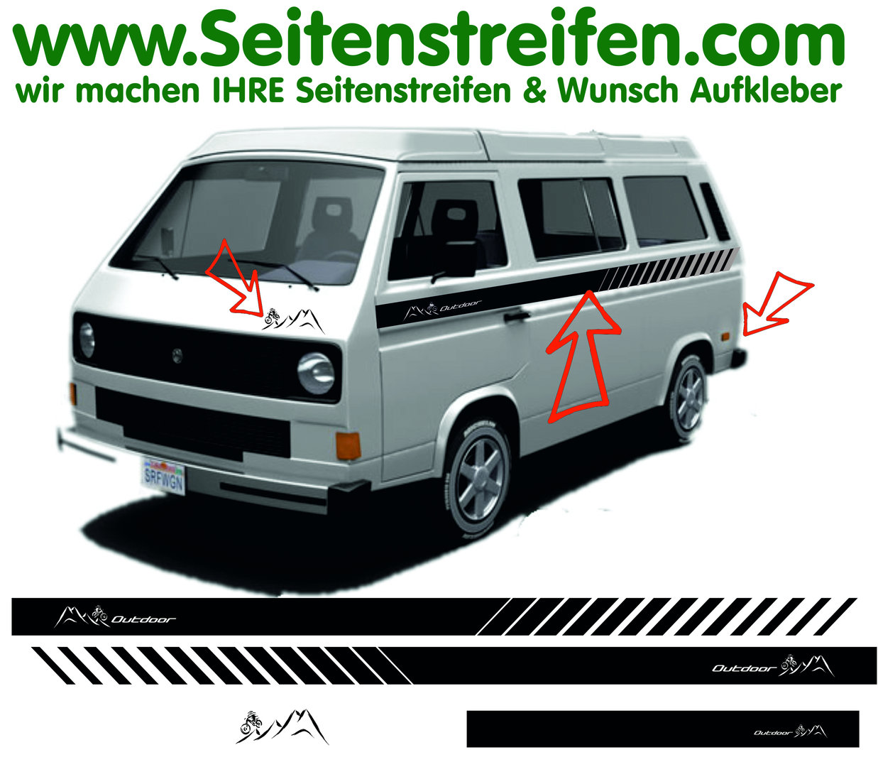 VW Bus T3 EVO Custom Berge Mountain Outdoor Seitenstreifen Aufkleber Sticker Dekor Set Art.Nr.: 1286