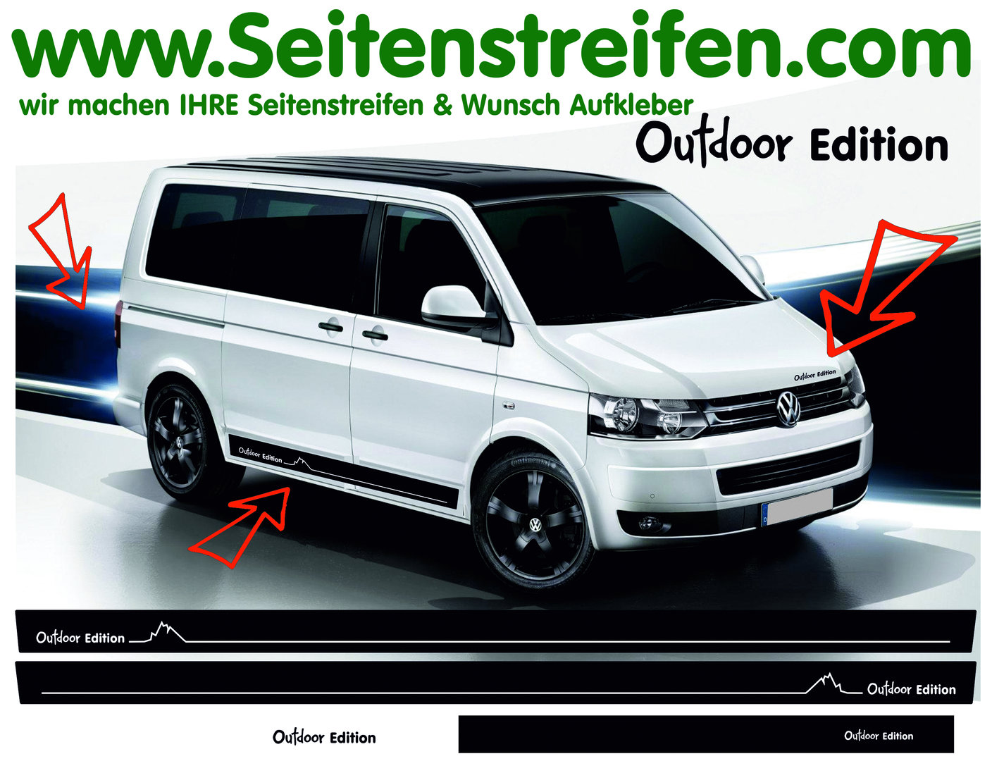 Vw bus t4 t5 outdoor edition side stripes decal sticker decor set n 2549