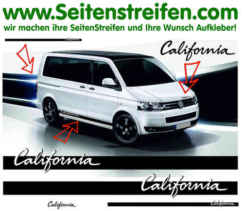"California ""elegant"" VW Bus T4 T5 Pegatinas Laterales Set Completo Art N° 3549"