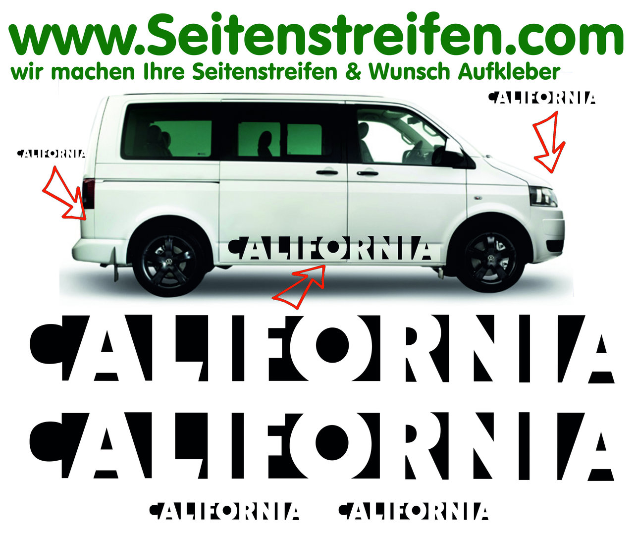 California San Francisco Edition Look VW Bus T4 T5 Seitenstreifen Aufkleber Komplett Set - Nr. 3550
