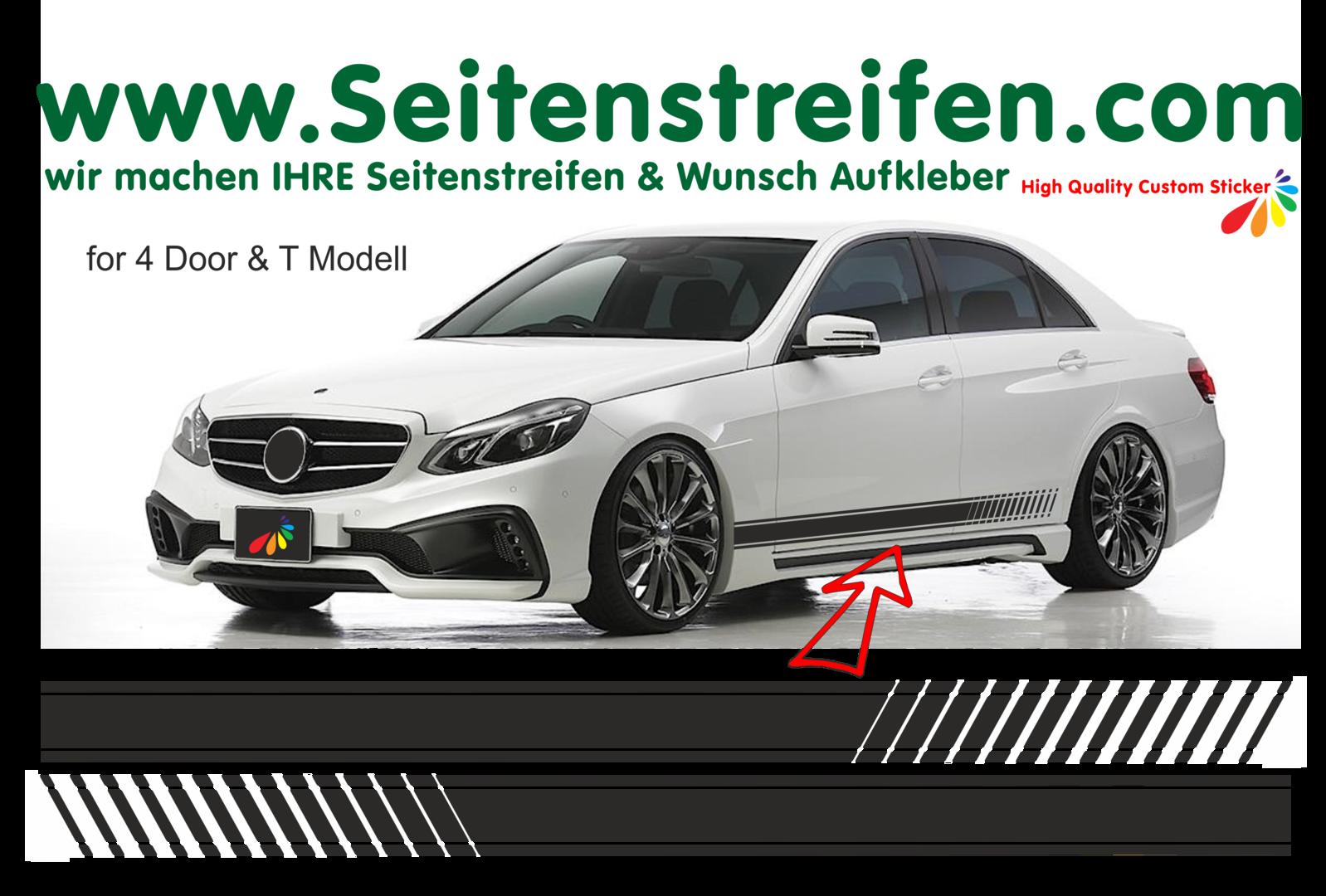 Mercedes benz e class evo look sticker decal side stripe for Mercedes benz decals