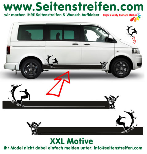 VW Bus T4 T5 T6 Surf Wave Hang Loose -  bande latérale autocollant ensemble complet - N° 2907