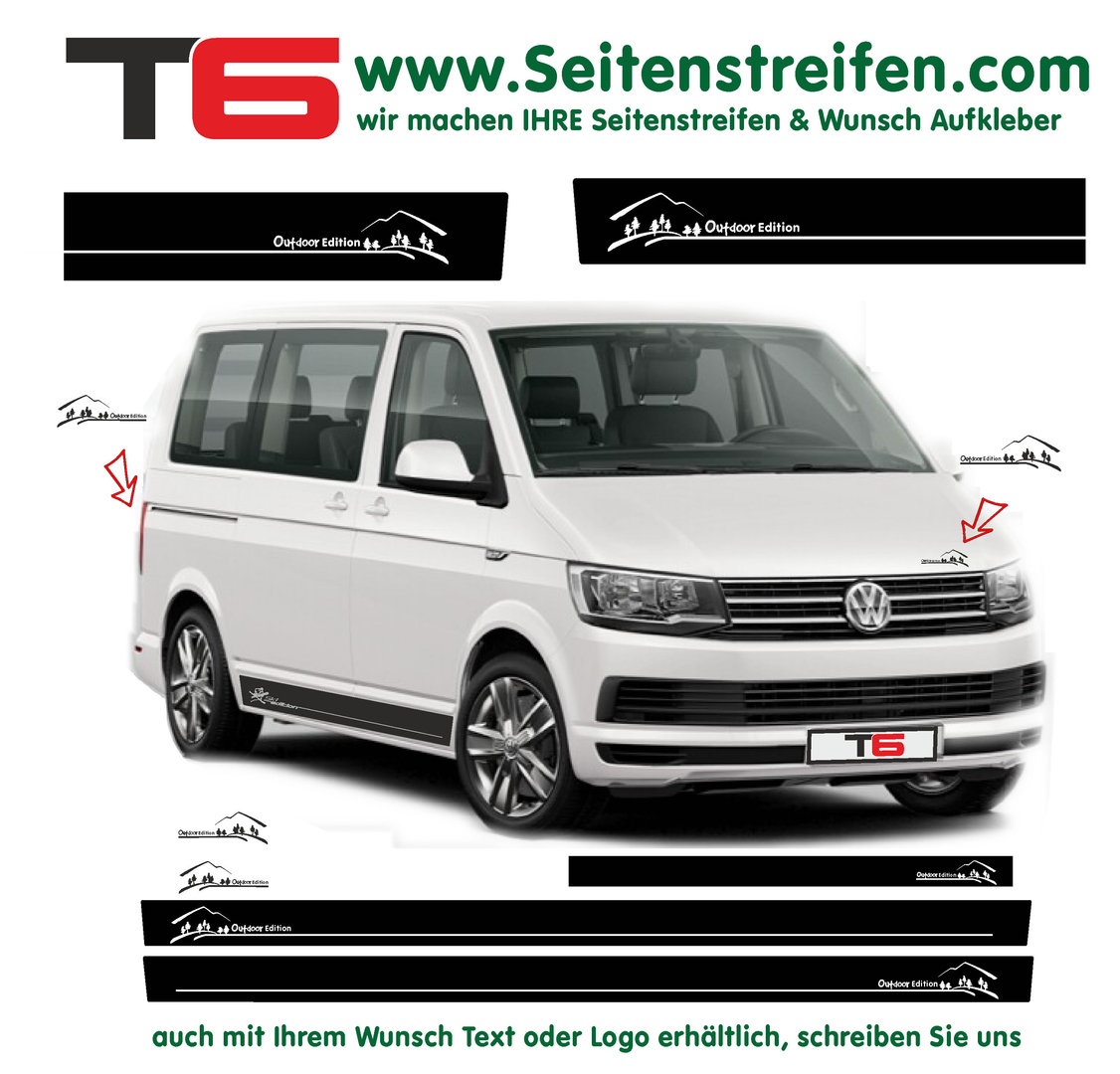 VW BUS T5 T6 Outdoor Edition Look Seitenstreifen Aufkleber Dekor  Komplett Set - Art.Nr.: 6678