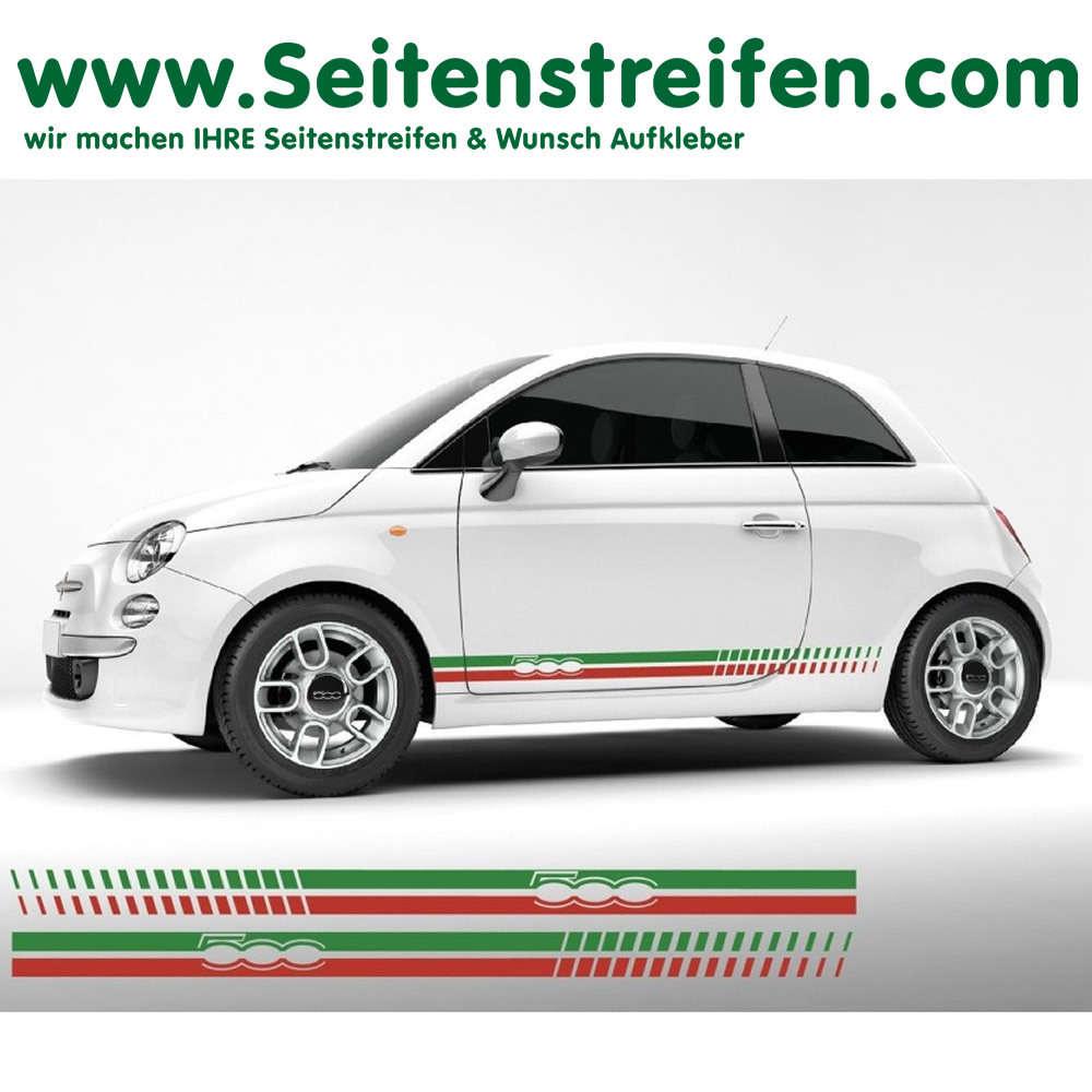 Fiat 500 Martini Racing Side Stripes Sticker Decal Set N 6033