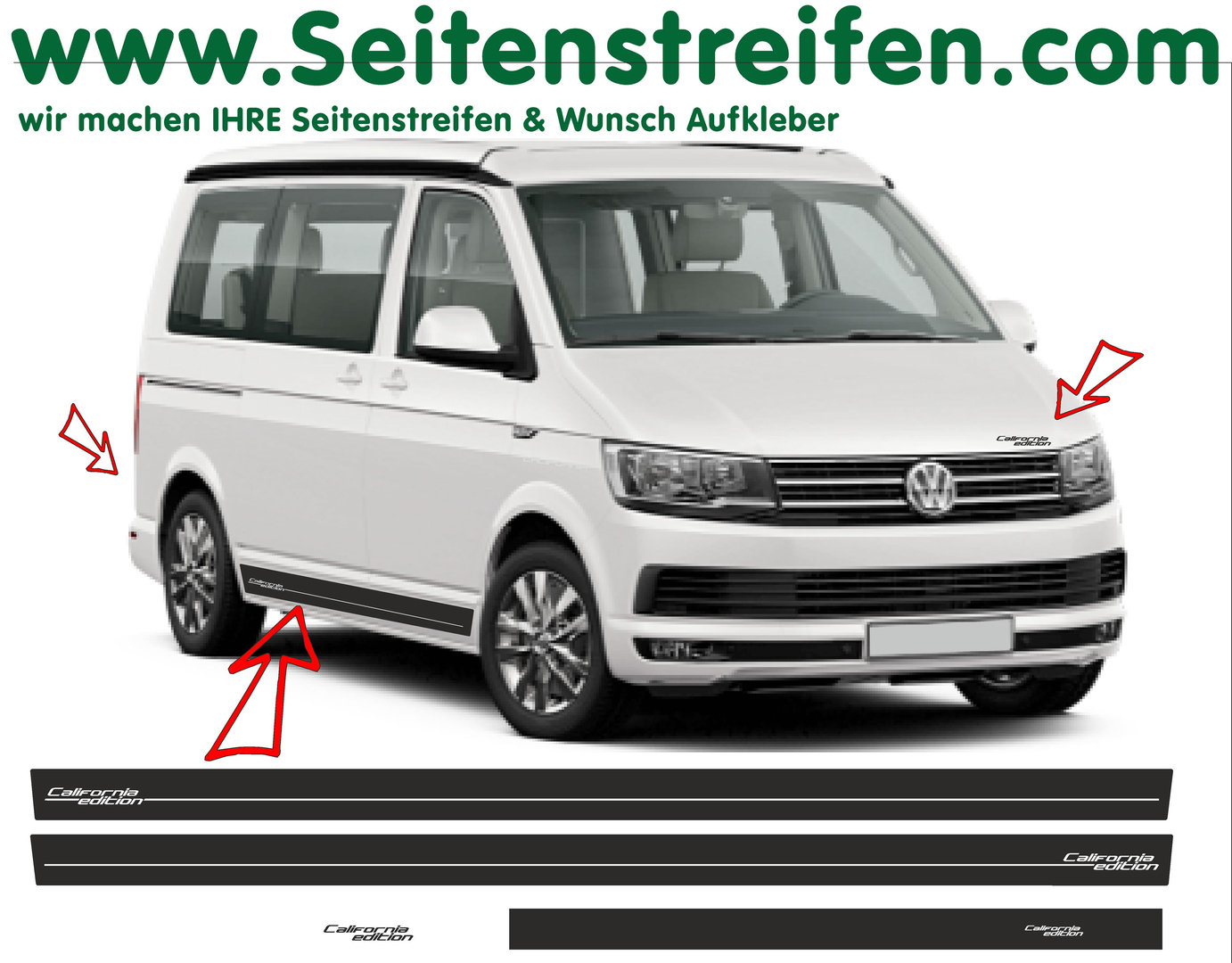 vw bus t6 california edition professional car side stripes seitensdekore personal text. Black Bedroom Furniture Sets. Home Design Ideas