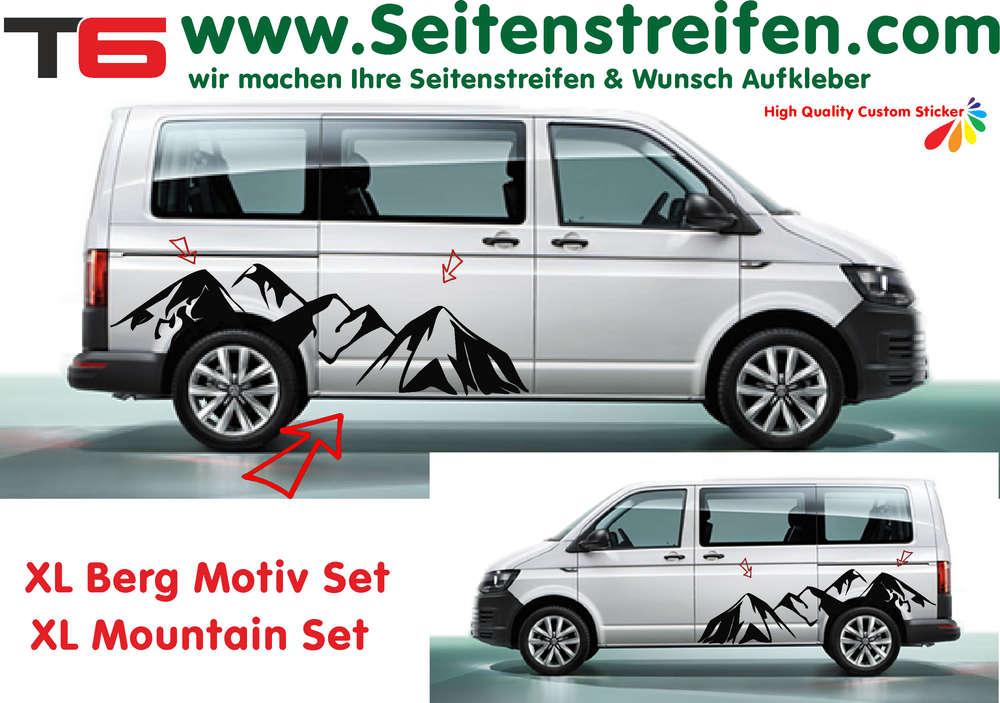 vw bus t6 xl berge mountain panorama motiv seitenstreifen. Black Bedroom Furniture Sets. Home Design Ideas