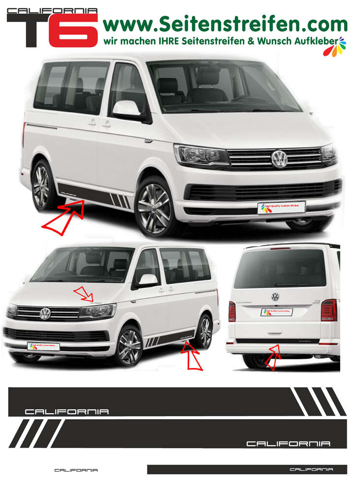 Vw T6 Multivan California Transporter T6 Side Stripe Sticker Decal Complete Set N 5476