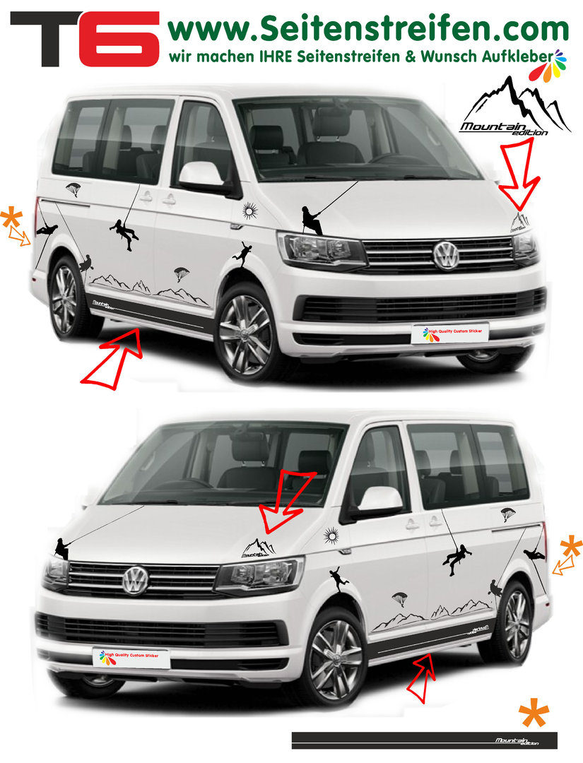 Vw Bus Multivan California Transporter T6 Side Stripe Sticker Decal Complete Set